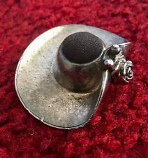 Pin Cushion Vintage Pewter Sun Hat Fine Detail Collectable Sewing