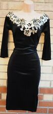 QUIZ BLACK VELVET GOLD FLORAL LACE BARDOT EMBROIDERED BODYCON PARTY DRESS 12