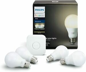 Philips Hue Smart Bulb Starter Kit (4 A19 White Bulbs and 1 Hub) / NEW & SEALED