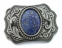 Silver Color Southwest Western Oval Natural Lapis Cabochon Belt Buckle EPBB83