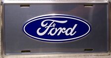 Aluminum License Plate vehicle Ford blue oval emblem logo on satin silver NEW