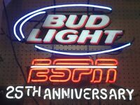 "BUDWEISER LIGHT ESPN 25th ANNIVERARY "" Neon Beer Sign"