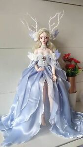 1/4 1/3 BJD Archaic Outfit Clothes Blue Fairy Dress+Choker+Headwear Wings Deco