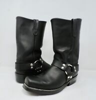 Double H #4008 Black Oiled Leather Harness Motorcycle Boots Men's Size 8.5 D EUC