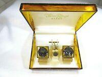 Vintage 1970's Three Rings Men's Cufflink Set In Original Box
