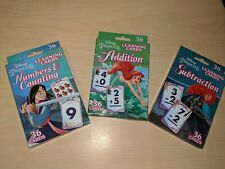 Disney Princess Learning Math Numbers School Flashcards- Lot Of 3