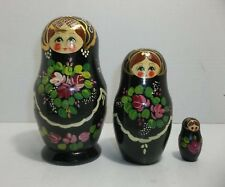 Vintage Russian Nesting Dolls Hand Painted Set Of 3