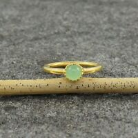Natural Chrysoprase 18K Gold Plated 925 Sterling Silver Dainty Ring Size US 6