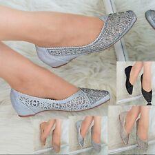 Para mujeres Zapatos Tacón Bajo Cuñas de diamantes de imitación Resbalón en Zapatos de tacón fiesta noche talla 3-8