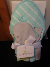 Cuddle Time Nwt Hooded Towel & 4 Washcloth Set Whale Theme