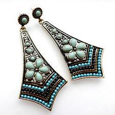 Vintage Style Beaded Flower Statement Long Drop Earrings Bohemian Retro Ethnic