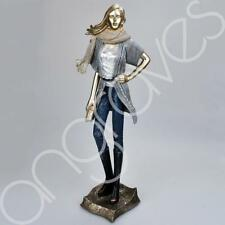 Modern Blue and Grey Lady Figurine Darcy Wearing Denim Chic Figure Home Decor Or