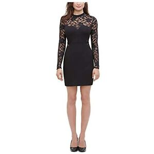 Guess Women's Long Sleeve Floral-Lace Bodycon Dress, Size 10, Black, $128, NwT