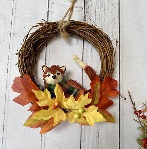 Rustic Woodland Bristle Brush Fox Wreath Christmas Wall Hanging Decoration Gift