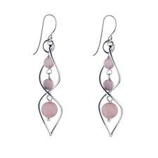 Pendientes de joyería con gemas ganchos cuarzo rosa