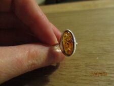 Ladies sterling silver 925 amber ring - size L/M