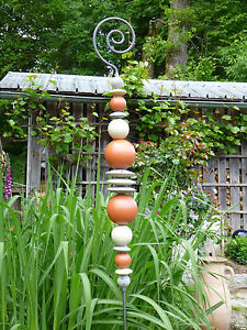 Keramik Beetstecker Rankstab Spitz 25322 Garten Dekoration  Edelrost Metall Stab