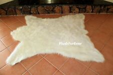 White  Bearskin Rug Accents Throw Area Rugs Lodge Cabin Accents