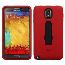 Red / Black Hard Hybrid Case Cover Kickstand For Samsung N900V Galaxy