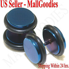 """2101 Fake Cheater Illusion Faux Plugs 16G Surgical Steel 7/16"""" 11mm Blue X Large"""