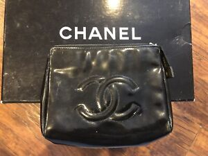 Authentic CHANEL Black CC Patent Leather Cosmetic Case Coin Purse Wallet-$2000