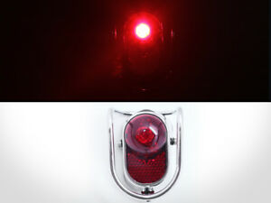 Bicycle Rear LED Tail Lights - Chrome Old School Vintage Classic Tour W/Battery