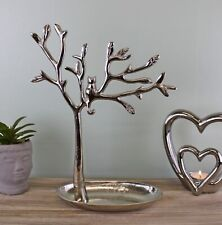 32cm Silver Metal Tree of Life Jewellery Stand Necklace Organiser Ring Holder