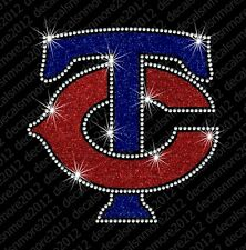 MLB:  MN Minnesota Twins TC - Bling - Iron-on Glitter Vinyl  Rhinestone Transfer