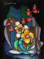 Superbe grand pastel Abstraction et Nature morte signé R Revaute Abstrait 1980