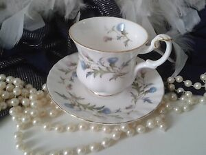Royal Albert Brigadoon teacup and saucer, Teacup With thistle flowers, Gifts