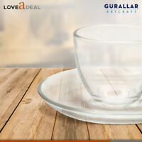 225ml Clear Glass Cup & Base Saucer Set Hot Tea Coffee Espresso Cappuccino 12pc
