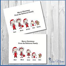 10 Tarjetas de Navidad Familia de palo Personalizado Navidad Saludos Tarjeta Con Sobres