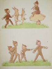 Original CLEM (Cecily Le Mesurier) Cartoon c1920s, Pixies/Elves Playing, Dancing