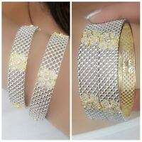 Lovely Gold Plated American Diamond Indian Bangle Bracelet Traditional Lady Gift