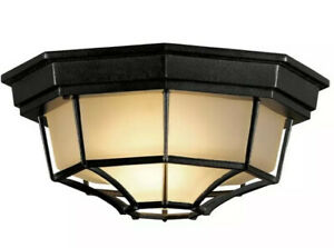 Flush-Mount Light Black - Indoor or Outdoor Ceiling Fixture Frosted Glass Shade