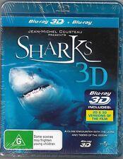 Sharks (Blu-ray,3D+2D 2011)New (Jean-Michel Cousteau) Region B Free Post