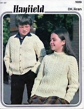 ~ Vintage 1970's Hayfield Knitting Pattern For Child's Aran Sweater & Cardigan ~