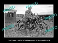OLD 8x6 HISTORIC PHOTO OF LYON FRANCE INDIAN MOTORCYCLE RIDER IN RACE 1924 1