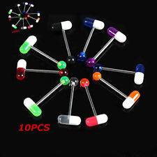 10PCS Mixed Color Pill Style Tongue Nipple Bar Ring Barbell Body Piercing HOT