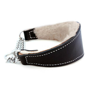 """NWT Auburn Leathercrafters Martingale Dog Collar Shearling Black Tapered 2.5x22"""""""