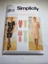 SIMPLICITY 7107, MISSES/ PETITE DRESS, TOP, SKIRT. SIZE 18-22. PREOWNED UNCUT