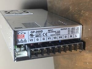 MEANWELL QP-200D power supply quad output 5, 12, 24, and -12 volt