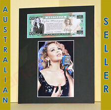 Kylie Minogue in $100 Australian Novelty Note with 4x6 photo, Matted Memorabilia