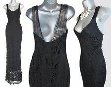 KAREN MILLEN Gorgeous Rare Black Crochet Beaded Cocktail Maxi Dress 2  UK 10 38