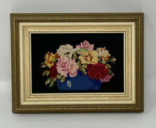 Antique Vintage Framed PETIT POINT Needlepoint Picture BOWL OF ROSES On Black