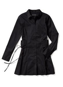 BROOKE SHIELDS Timeless Collar Woven Tunic Button-up Shirt (Black, 20W) A306653
