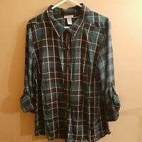 Women's Womens Catherine's Blue Teal Plaid Button Front Shirt Size 0X 14/16W