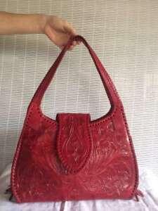 RED Medium Leather Hand Tooled Handbag 100% Mexican