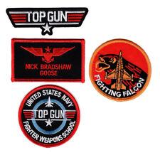 Goose Top Gun School Name Badge Costume Patch (4PC Set - iron on Sew on)