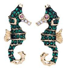 Beach Crystal Rhinestone Gold Earrings Emerald Green Nautical Seahorse Ocean